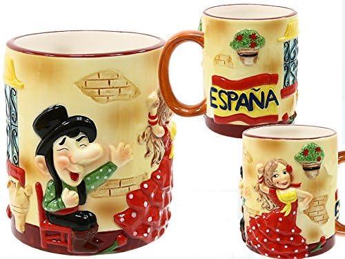 Lote de 2-Taza de porcelana, diseño cuisine souvenir Toro Toro bailarina castañera flamenco la bandera de España: Amazon.es: Hogar