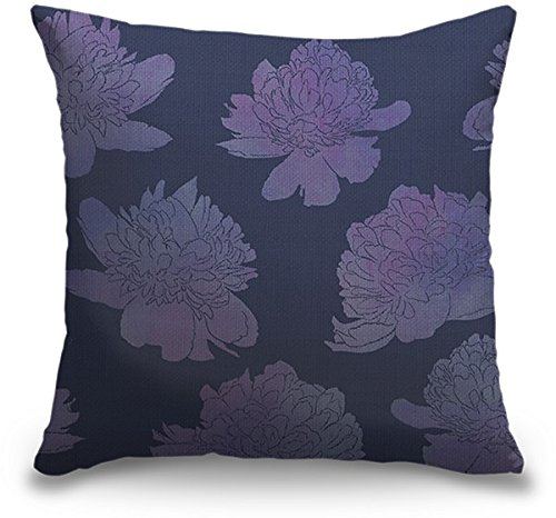 Circle Art Group Indoor Burlap Throw Pillow - Descending Peonies Lavender