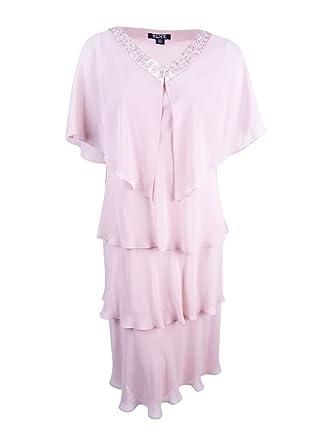 ae223175cee S.L. Fashions SLNY Women s Plus Size Tiered Chiffon Jacket   Dress (14W
