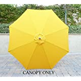 9ft Umbrella Replacement Canopy 8 Ribs in Yellow Olefin (Canopy Only)