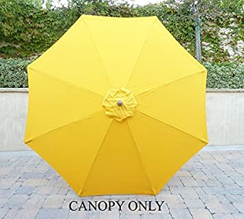 9ft Umbrella Replacement Canopy 8 Ribs in Yellow Olefin (Canopy Only) : umbrella replacement canopy 8 ribs - memphite.com