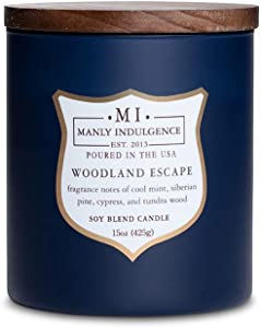 Manly Indulgence Fragrance: Woodland Escape Scented Jar Candle, 15 oz, White
