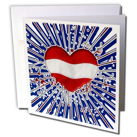 Anne Marie Baugh - Hearts - Bold Red and White Striped Heart With Blue Sun Rays - 6 Greeting Cards with envelopes (gc_236114_1)