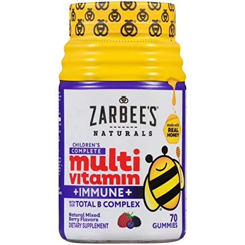 Zarbee's Naturals Children's Complete Multivitamin + Immune Gummies with Our Total B Complex and Essential Vitamins, Sweetened with Honey, Natural Mixed Berry Flavors, 70 Gummies (Best Multivitamin For Immune System)