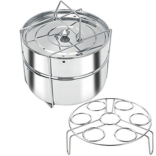 Stackable Stainless Steel Pressure Cooker Steamer Insert Pans with Sling and egg rack – Instant Pot in Pot Accessories- Food Steamer for cooking- Fits 6 & 8 qt instant pot (On Sale Limited Time!) Review