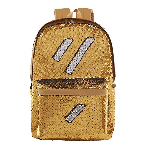Flip Sequin School Backpack Bookbag for Girls Kids Teen Cute Glitter Sparkly Book bags Back Pack (Gold)]()