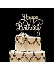 Happy Birthday Rhinestone Cake Topper, Golden,For Birthday Party Decoration. (Happy Birthday)