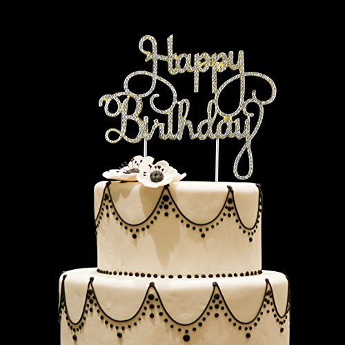 Cake Topper for Birthday And Party, happy birthday, made of Rhinestones and alloy metal, Sturdy and shining. (Happy Birthday) (Birthday Decorate A Cake)