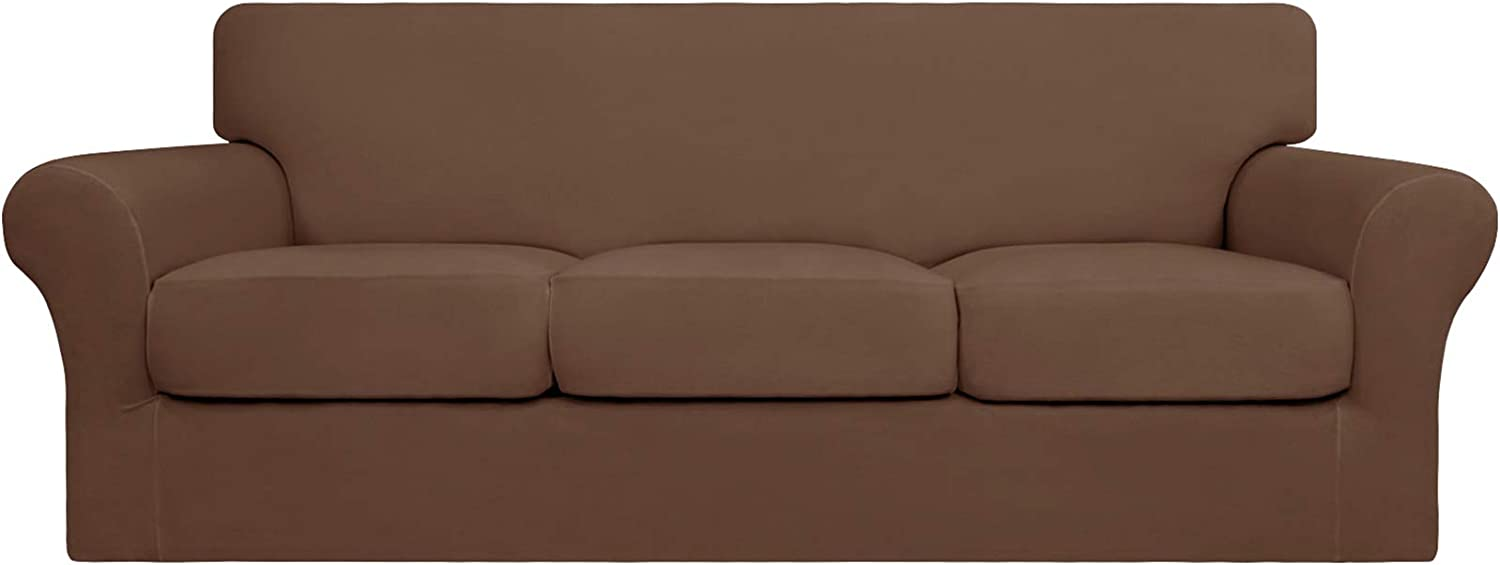 Easy-Going 4 Pieces Stretch Soft Couch Cover for Dogs - Washable Sofa Slipcover for 3 Separate Cushion Couch - Elastic Furniture Protector for Pets, Kids (Sofa, Brown)
