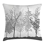 Ambesonne Nature Throw Pillow Cushion Cover, Silhouette of Trees Forest Freshness Themed Woodland Branches Artful Image, Decorative Square Accent Pillow Case, 18 X 18 Inches, Light Grey White