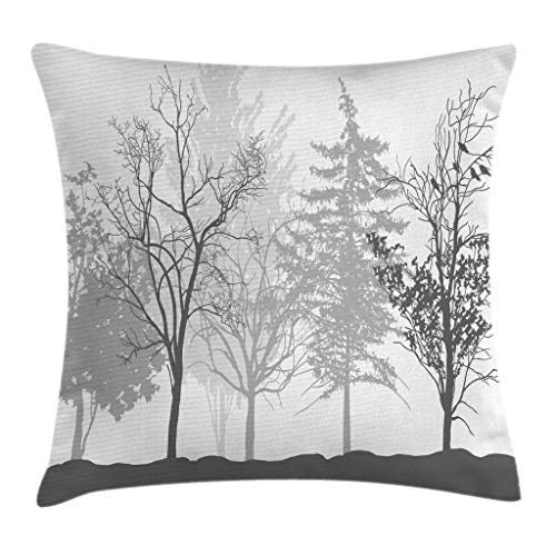- Ambesonne Nature Throw Pillow Cushion Cover, Silhouette of Trees Forest Freshness Themed Woodland Branches Artful Image, Decorative Square Accent Pillow Case, 18 X 18 Inches, Light Grey White