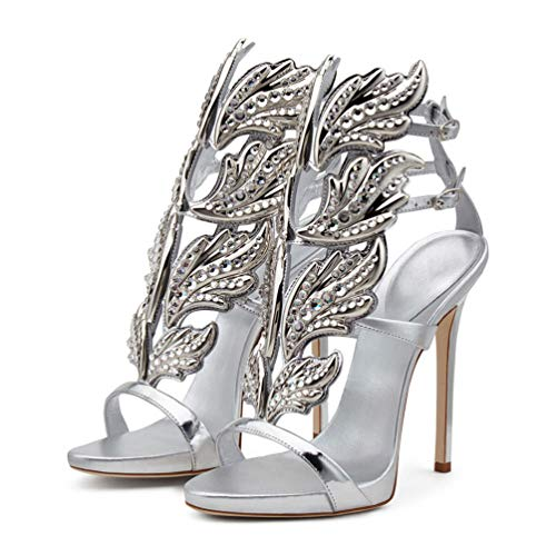 Peatutoori Women's Peep Toe High Heels Shoes Flame Gladiator Pumps Shoes Dress Party Buckle Strap (7, Silver Rhinestone) ()