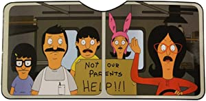 Bob's Burgers Car Window Sun Shade Visor - Licensed Pop Culture TV Merchandise - Windshield Visor and Shield - Novelty Automotive Accessories - Standard Size UV Blocker - Geeky Funny Items