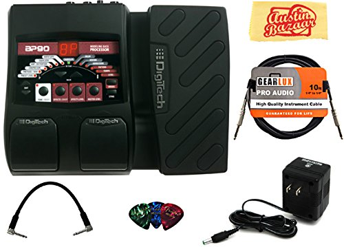 DigiTech BP90 Bass Multi-Effects Pedal Bundle with Power Supply, Instrument Cable, Patch Cable, Picks, and Austin Bazaar Polishing Cloth by DigiTech