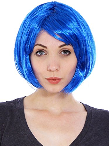 [Simplicity Women's Costume Party Short Straight Bob Full Hair Wig, Blue] (Beetle Juice Wig)