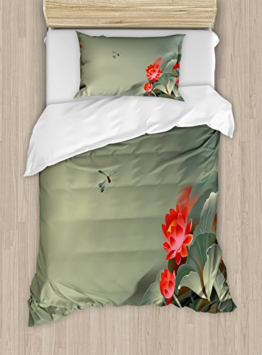 Ambesonne Dragonfly Duvet Cover Set Twin Size, Traditional Japanese Painting with Lotus Blooms in Hazy Tones Asian Design, Decorative 2 Piece Bedding Set with 1 Pillow Sham, Red Reseda Green