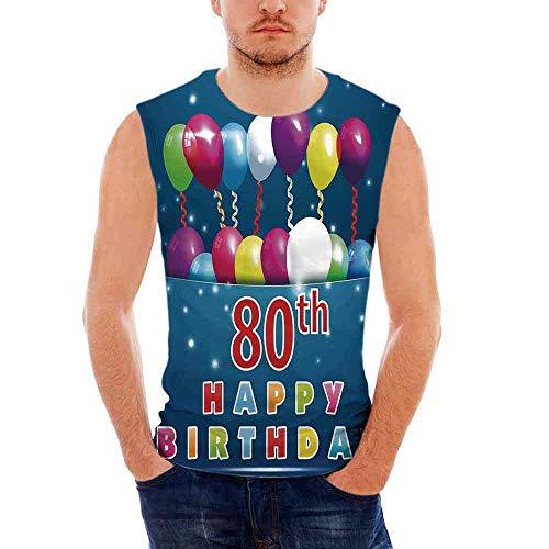 iPrint 80th Birthday Decorations Mens Comfort Cotton Tank Top,Happy Birthday Quote wit