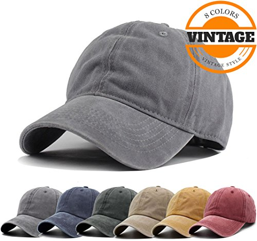 Unisex Vintage Washed Distressed Baseball Cap Twill Adjustable Dad Hat,J-grey,One (Fashion Baseball)