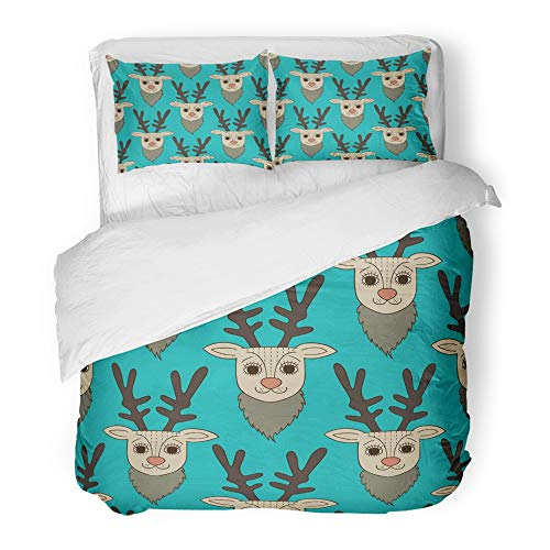 Emvency Decor Duvet Cover Set Full/Queen Size Brown Animal Teal Deer Green Bambi Cartoon Celebrate Celebration Character Christmas 3 Piece Brushed Microfiber Fabric Print Bedding Set Cover ()