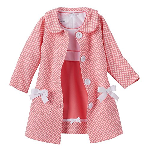 [Bonnie Jean Baby-Girls Houndstooth Coat and Dress Set (18 Months, Coral/White)] (Baby Easter Dresses)