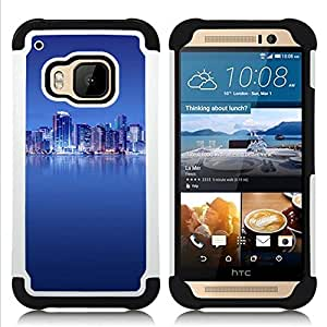GIFT CHOICE / Defensor Cubierta de protección completa Flexible TPU Silicona + Duro PC Estuche protector Cáscara Funda Caso / Combo Case for HTC ONE M9 // The Blue City //