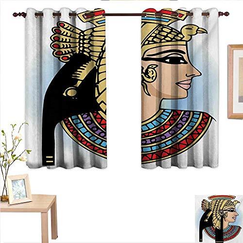 Egyptian Blackout Draperies for Bedroom Profile Portrait of Queen Cleopatra Ancient Cultures Civilization Antique Artwork 63