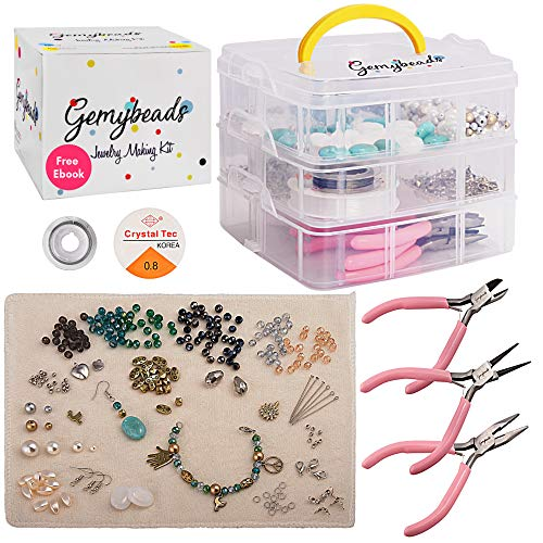 Premium Jewelry Making Supplies Includes Charms, Pliers, Findings, Beads for Bracelets, Earrings, Necklaces, Beading Kit with Free EBook, DIY Crafts for Adults & Teenagers, Perfect Teen Girl - Maker Supplies Jewelry