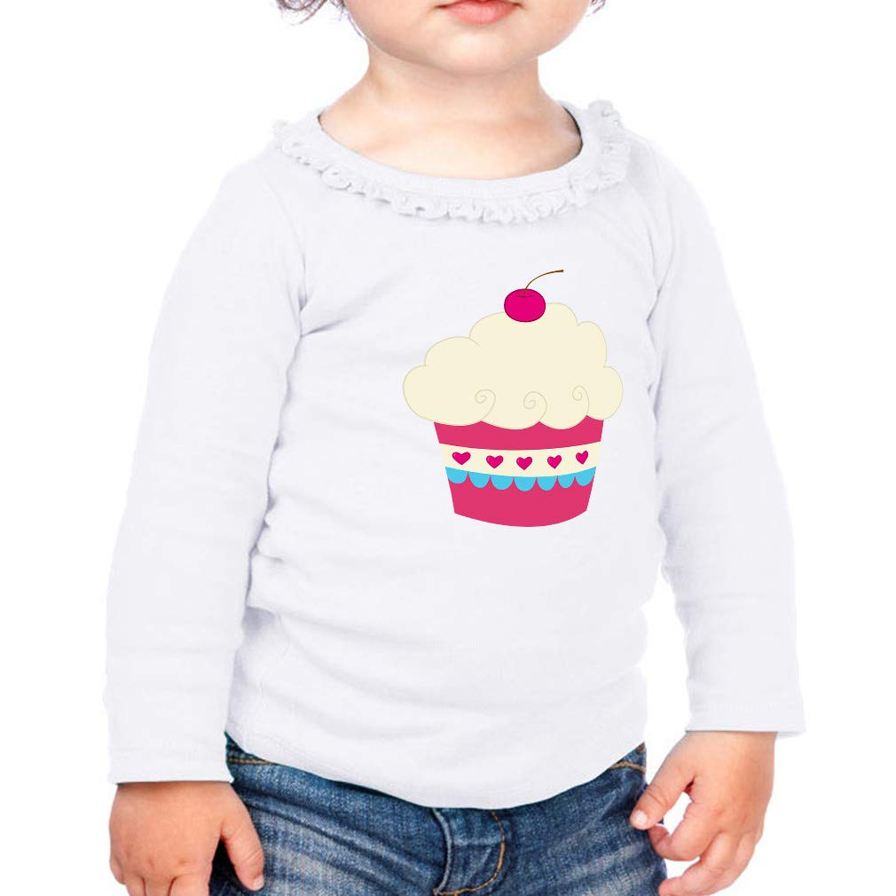 Dark Pink White Cherry Cupcake Cotton Toddler Long Sleeve Ruffle Shirt Top