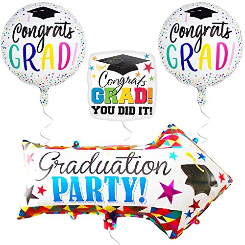 (Graduation Balloons and Yard Sign - Arrow Yard Sign for Graduation Decorations and Graduation Party Supplies - Mylar Foil Helium Balloon - High School and Senior - Congrats Grad and You Did it )