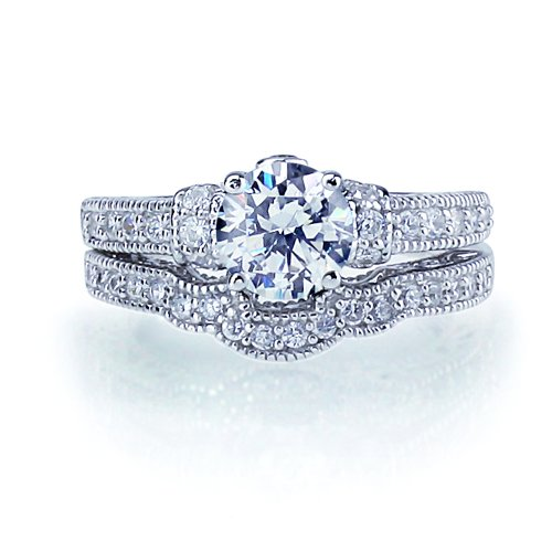 Sterling Silver Rhodium Plated, CZ Set Vintage Style 2 pcs Engagement Ring Bridal Sets 6mm ( Size 5 to 9) Size 6