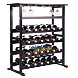 Wood Wine Rack Holder Storage Shelf Display Glass Hanger 24 Bottle
