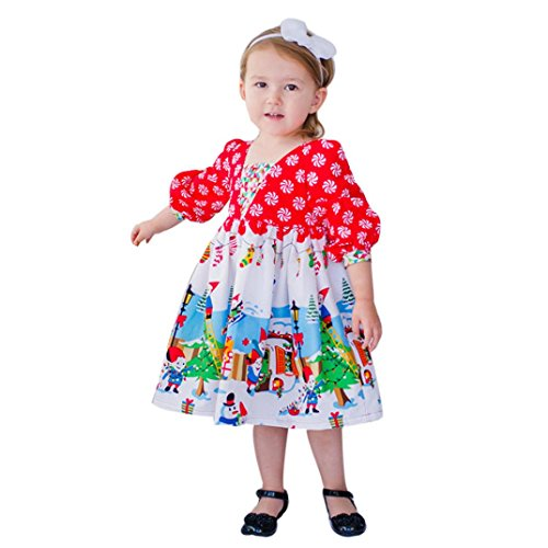Hot Sale!!Woaills 1PC Dress,2-6T Toddler Kids Baby Girls Cartoon Princess Party Outfits Christmas Clothes (Red, 5T) -