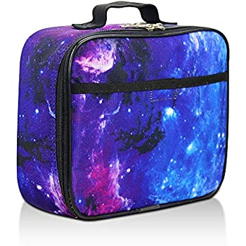 Galaxy Lunch Box for Girls, Boys, Kids by Fenrici - Soft Sided Compartments, Spacious, Insulated, Food Safe, 10.8in x 9.2in x 3.8in, Purple
