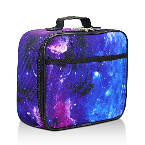 Galaxy Lunch Box for Girls, Boys, Kids by Fenrici - Soft Sided Compartments, Spacious, Insulated, Food Safe, 10in x 7.5in x 3in, Purple, Support A Great Cause