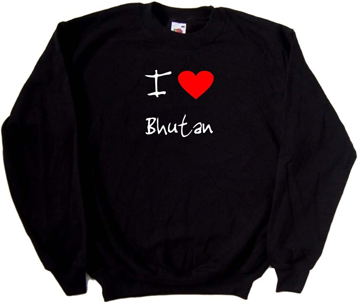 I Love Heart Bhutan Black Sweatshirt