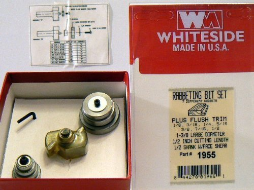 (Whiteside Router Bits 1955 Multi Rabbet Set Carbide Tipped 1-3/8-Inch Large Diameter and 1/2-Inch Cutting Length)