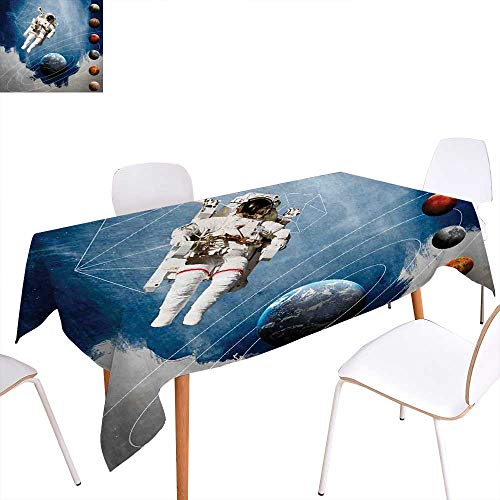 familytaste Outer Space Dinning Tabletop Decoration Planetary Circles with Geometric Figures Neptune Astral Rocket Vintage Print Table Cover for Kitchen 54