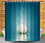 iPrint No Chemical Odor Shower Curtain by, Lotus,Magic Lotus with Bright Reflections Zen Life Spiritual Meditation Yoga Print,Petrol Blue Coconut,Fabric Bathroom Decor Set with Hooks