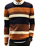 Product review for UUYUK-Men Striped Crew Neck Slim Fit Pullover Knitted Sweater