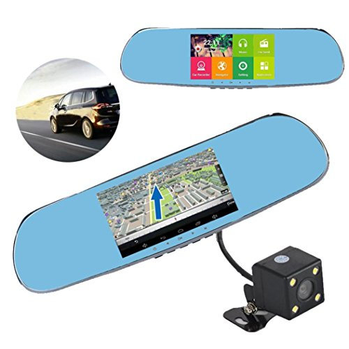 Android 4.0 Mirror GPS 1080P Car DVR Recorder 5'' TFT HD Display Backup Camera by FreshZone