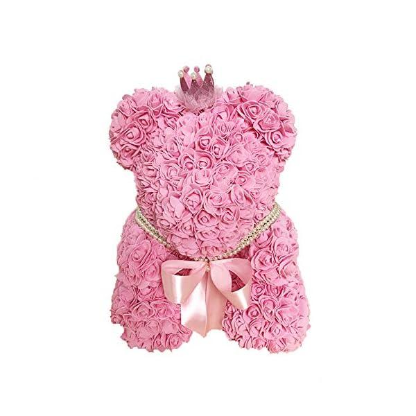 CMJLBM Handmade Eternal Flower Rose Bear Artificial Rose Gift for Anniversary, Valentine's Day, Wedding, Birthday, Christmas, Thanksgiving Day (Pink)