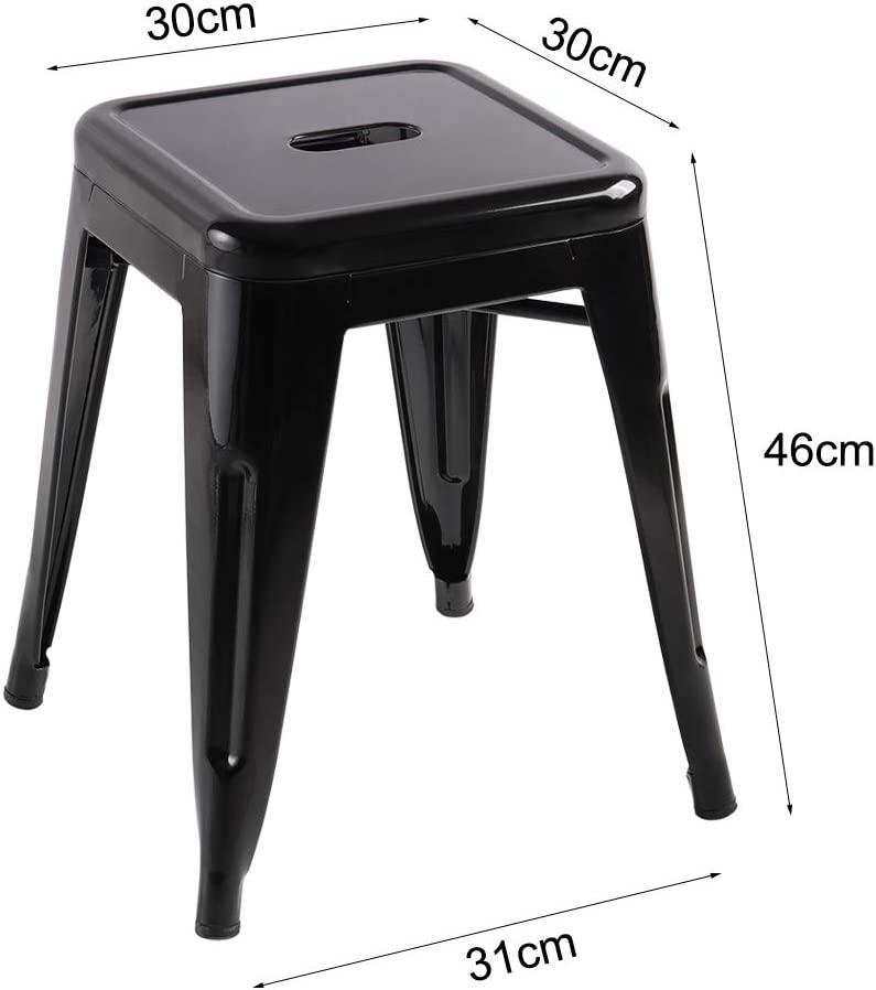 High light black Qivange Pack of 2 Black Barstools with Back Metal Industrial low Bar stools Chairs Stools for Dining Chair Kitchen-Cafe-Bistro-Vintage Seat