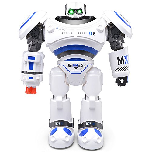 Edear JJRC R1 Defender Remote Control Intelligent Combat Robot Toy for Kids Funny Programming Shoot Music Dance Arm-swing Humanoid Robots Kit Toys Present for Boys and Girls - Blue -