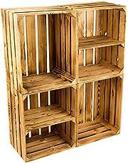 Kit de 4 Sólido Caja de Fruta Cajón de Manzana Caja de Vino de la región de altes Land 49 x 42 x 31cm - Nuevo Flameado 2X Transversal 2 X Sin