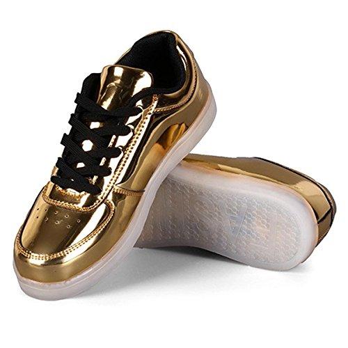 Chaussures - Sodial (r) Nouveau Unisexe Usb Led Lumières Lumineux Sportswear Sneaker Hommes Femmes Lacets Chaussures Sliver 35 Or