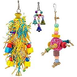 Mrli Pet Bird Shredder Toy Conure Foraging Shredding Hanging Toy for Small Medium Parrots