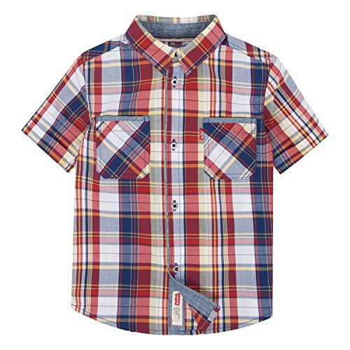 Levi's Big Boys' Sleeve Plaid Western Shirt, Pompeian Red, (Sleeve Western Plaid Shirt)