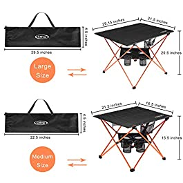 G4Free Folding Camp Table, Large Portable Camping Table with 4 Cup Holders and Carrying Bags for Indoor and Outdoor Picnic, Tailgating, BBQ, Beach, Hiking, Travel, Fishing Fishing