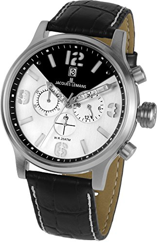 Jacques Lemans Porto 1-1792B 49mm Stainless Steel Case Calfskin Mineral Men's Watch