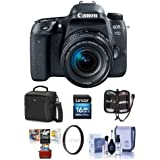 Canon EOS 77D DSLR EF-S 18-55mm F4-5.6 IS STM Lens - Bundle 16GB SDHC Card, Holster Case, Cleaning Kit, 58mm UV Filter, Memory Wallet, Card Reader, Mac Software Package